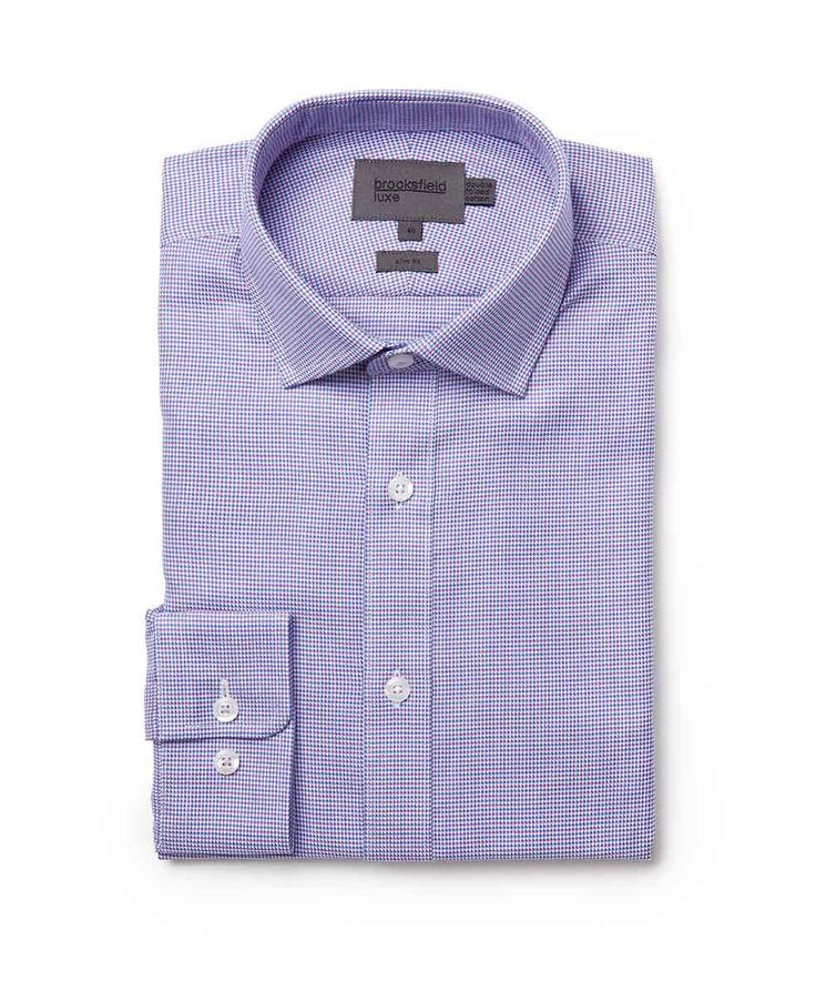 Brooksfield Online Shop: two colour houndstooth shirt - bfc965 lilac