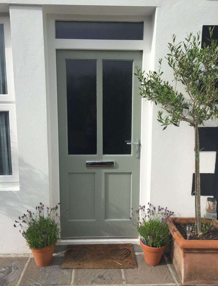 Farrow and Ball Pigeon front door, Cornwall cottage.
