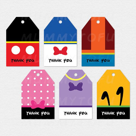 Mickey Mouse Clubhouse Party Thank You Favor Tags - Mickey Minnie Mouse Donald Daisy Duck Goofy Pluto - DIY Party Printable Instant Download  by mummytofu