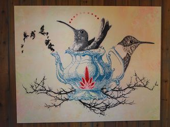 """Gallery - Chantella Viala's Art Gallery, huge 4ftx5ft painting, """"Birds of a Feather"""""""