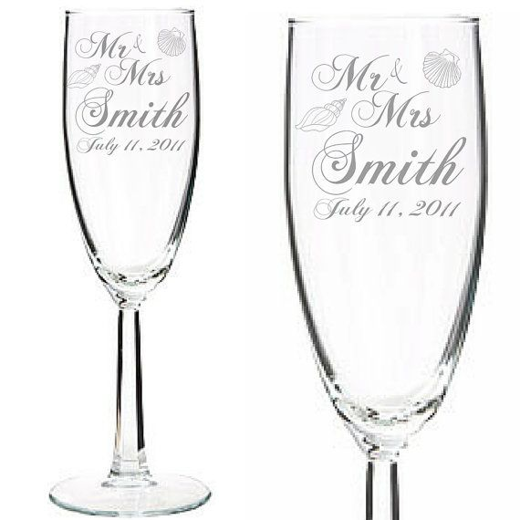 Set Of 2 Beach Theme Engraved Wedding Champagne Toasting Flutes For Bride Groom