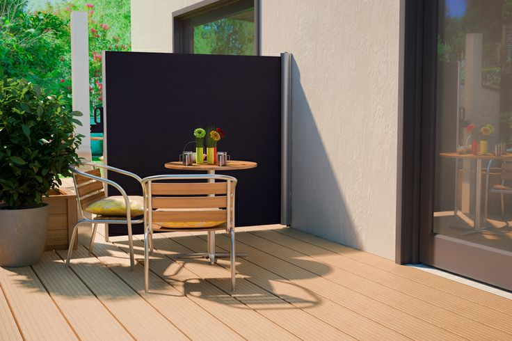 seitenmarkise ausgezogen farbe grau seitenmarkise f r terrasse oder balkon markise. Black Bedroom Furniture Sets. Home Design Ideas