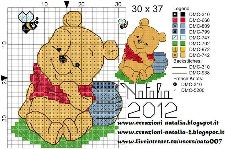 25 best schemi punto croce winnie pooh images on pinterest