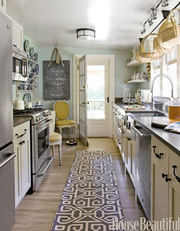 Long, Galley kitchen. If ever I have one. Bee Cottage - Frances says: All colors are Benjamin Moore. Walls are Powder Sand. Cabinets, Manchester Tan. Window mullions, Shale. Pale blue color is Palladian Blue. Dark turquoise color is Galapagos Turquoise