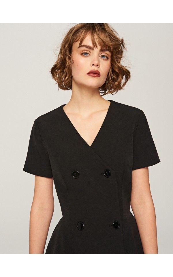 Sukienka z głębokim dekoltem, Sukienki, kombinezony, czarny, RESERVED