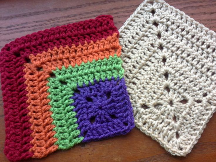 Mitered crochet squares. More