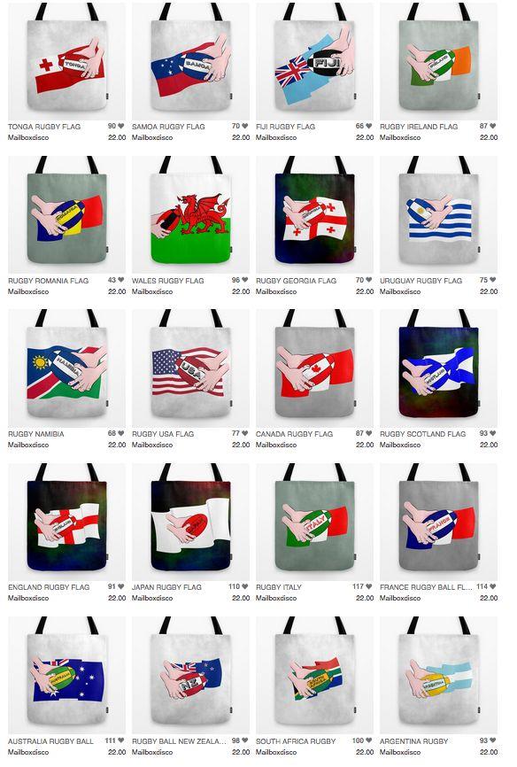 Rugby world cup supporters tote bags.