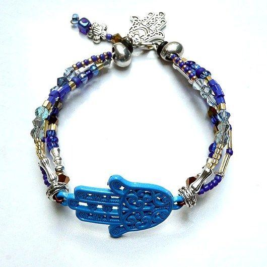 Friendship bracelet in boho style with hamsa // Bransoletka przyjaźni z hamsą w stylu boho