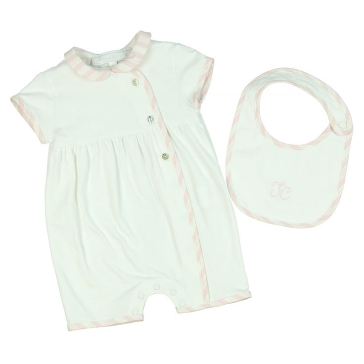 Baby Girl's Pink Striped Baby Grow and Bib Gift Set. Now available at www.chocolateclothing.co.uk