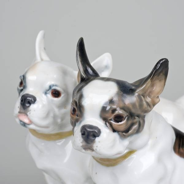 Meissen Porcelain French Bulldog Dog Group Frenchies