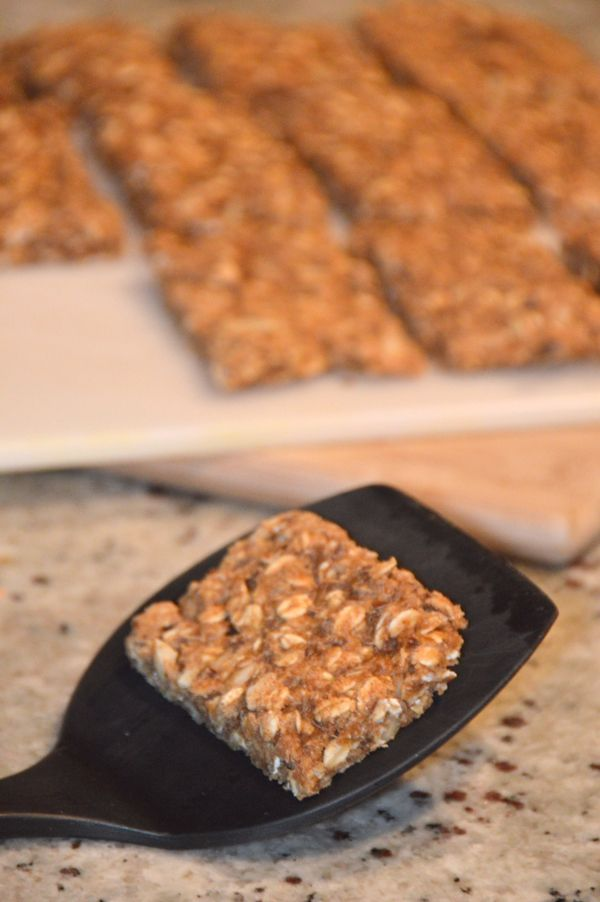 Banana Almond Butter Chewy Granola Bars (vegan)-Could have been a wee bit sweeter. I also had to bake 10 min longer than stated in the recipe.