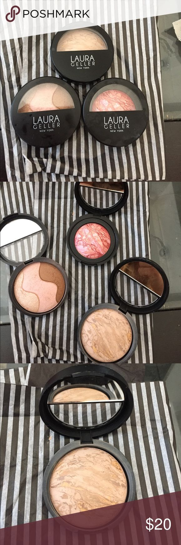 Laura Geller Baked Makeup Set ✨ Laura Geller Baked Makeup Trio Set ✨ included: 1. Baked Balance N Brighten Color Correcting Foundation in shade Medium. 2. Baked EyeShadow Sensation Trio in Tiramisu. 3. Baked Blush N Brighten in shade Tropic Hues. All compacts come with half mirror inside. All have been swatched but barely used. laura geller Accessories