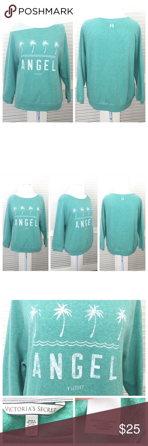 """Victoria's Secret Printed Slouchy Sweatshirt Victoria's Secret ANGEL Palm Tree Print Slouchy Sweatshirt. Mint green in color with contrasting white print. SUPER SOFT. Size small. Can be worn off Shoulder. Measurements are armpit to armpit 24"""", length 25"""" and sleeve measured from back mid seam of neck is 28"""". Like new. All my items are from a smoke free environment. Victoria's Secret Tops Sweatshirts & Hoodies"""