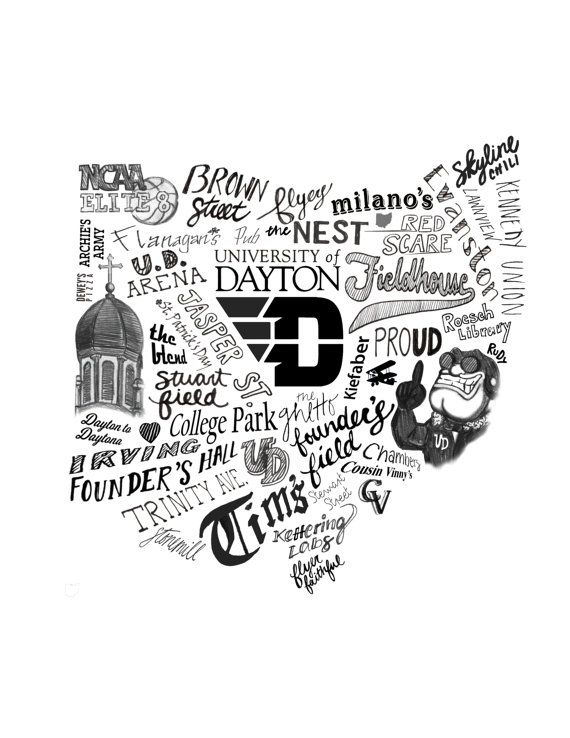 Goooooo Dayton Flyerrrrs! 8 1/2 x 11 print of an original illustration.  Print placed in a clear protective sleeve & mailed in a rigid cardboard flat