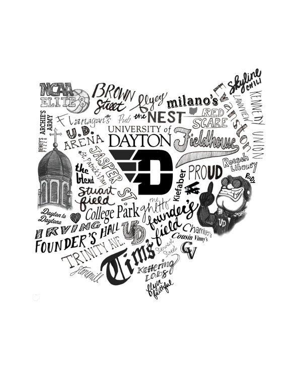 Goooooo Dayton Flyerrrrs! 8 1/2 x 11 print of an original illustration.  Print placed in a clear protective sleeve & mailed in a rigid cardboard flat
