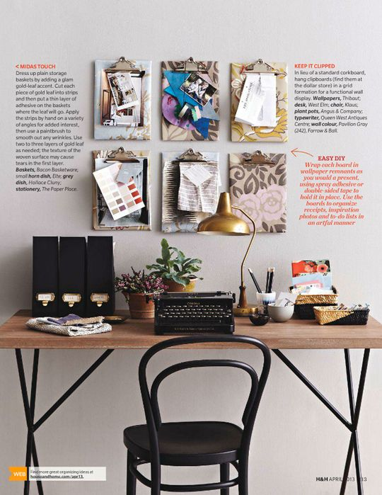 Organization Inspiration: Wallpapered Clipboards — House and Home | Apartment Therapy
