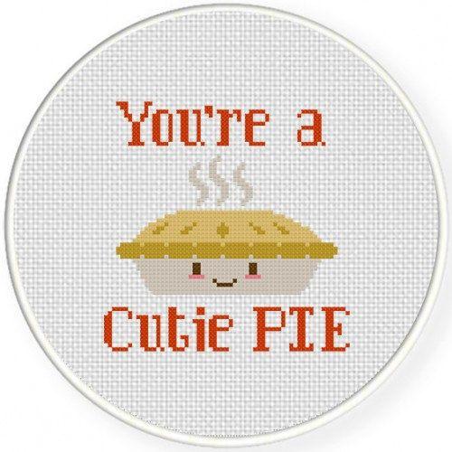 Cutie Pie Handmade Unframed Cross Stitch by CustomCraftJewelry                                                                                                                                                     More