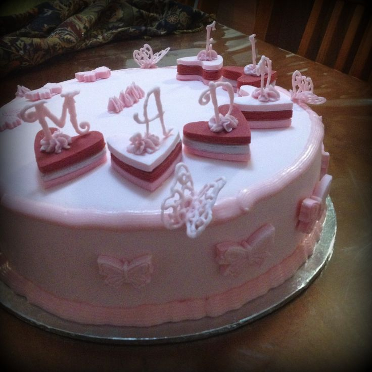 1st birthday cake Pink butter cake with strawberry frosting and white choc ganache