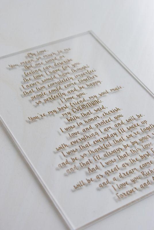 Gelofte van plexiglas / Vows acrylic