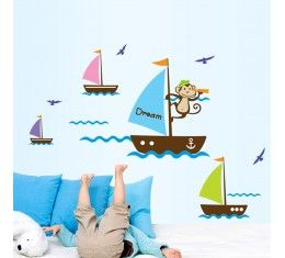 Monkey Boats wall sticker available at www.kidzdecor.co.za. Free postage throughout South Africa