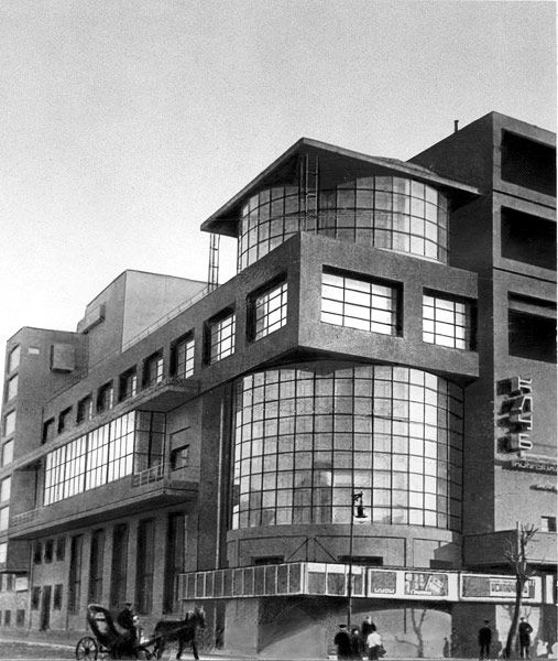 Дом культуры имени Зуева.The Zuyev Workers' Club.  Russia, Moscow. It was designed by Ilya Golosov in 1927 and finished in 1929. Constructivist architecture