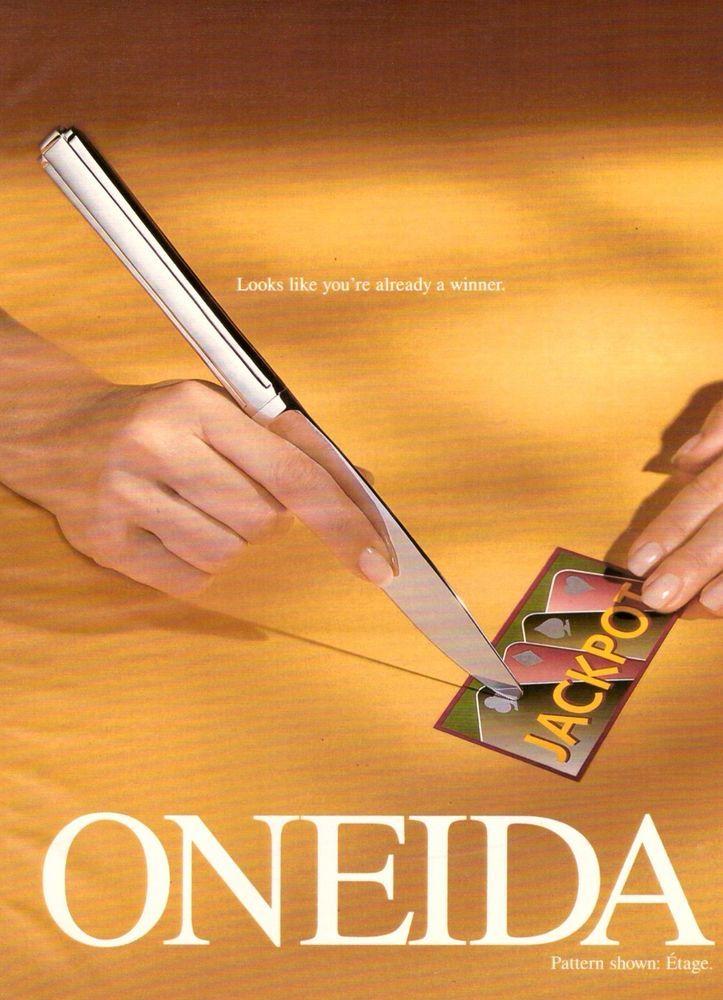 1996 Oneida Silverwear Cutlery Jackpot Vintage Advertisement Print Ad VTG 90s   eBay