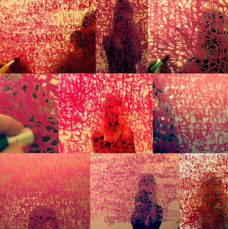 Zsuzsi Csiszer- Lipstick Project, text, poem, draw, withlipstick, bathroom, mirror, writing
