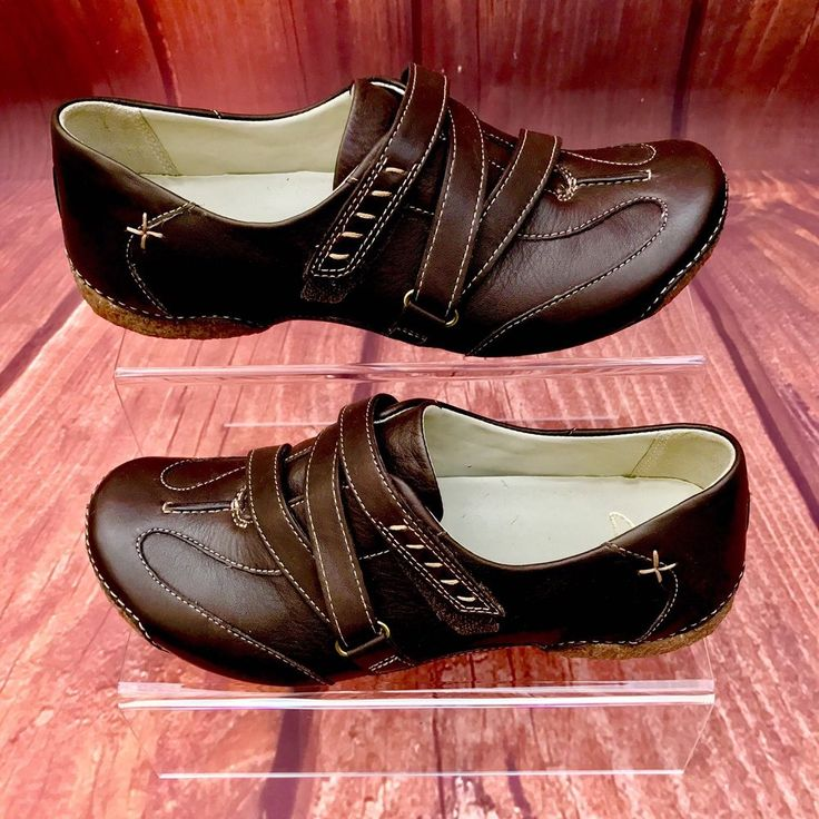Clarks Shoes Brown Leather Hook & Loop Strap worn inside house only clog walking