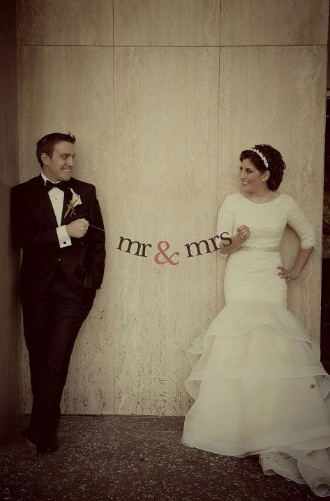 PRIORITY SHIPPING with this mr & mrs Banner.  Wedding Decorations.  Photo Prop.  Fun Banner for the Newlywed. on Etsy, $8.50