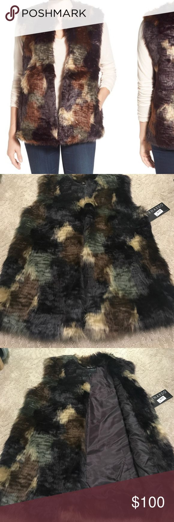 Bernardo Faux Fur Patchwork Vest Gorgeous multi coloured faux fur vest by Bernardo. Super soft with pockets! Received as gift but it's just a bit too big on me: 5 star review on Nordstrom website. Never worn, new with tags! Bernardo Jackets & Coats Vests