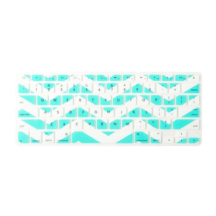 Mint and White Chevron Stripe Silicone MacBook Keyboard Cover | Claire's