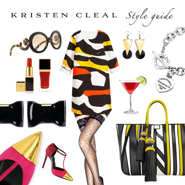 NYC STYLE GUIDE: Kicking off our first New York inspired Style Guide is the labels found in & around Manhattan, Enjoy! X   Luxe Earrings, Kristen Cleal $20. Metallic Cap Pump Shoes, Gucci $650. Belvedere Tote Bag, Anya Hindmarch $2250. Patterned Dress, H&M $59.95. Heart Tag Toggle Bracelet, Tiffany & Co $350. Baroque Sunglasses, Prada $290. Stay-Ups, Wolford Fashion $82. TOM FORD Make-Up. Squeeze-it Clutch, Alexander McQueen $450. Cosmopolitan cocktail, Priceless!