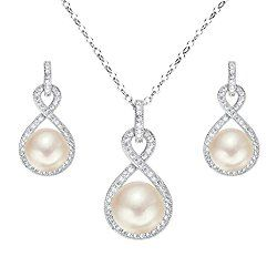 Freshwater cream pearl infinity sterling silver cubic zirconia earrings and necklace.
