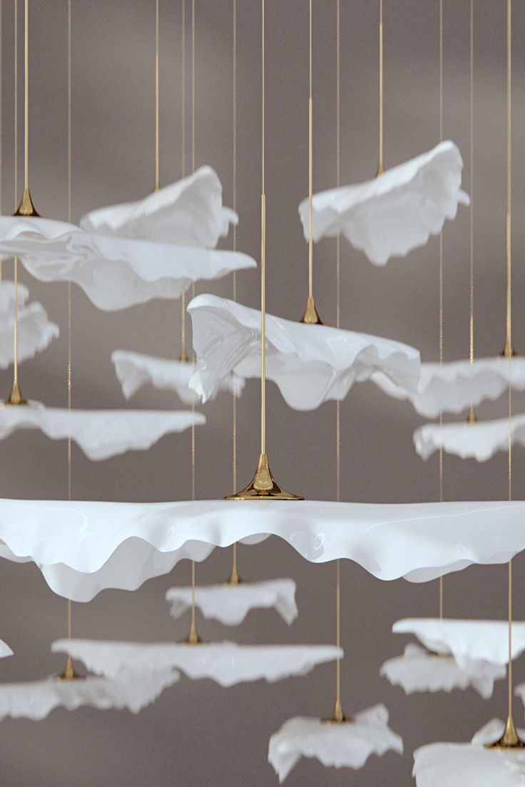 Close up of our pure-white glazed leaf lighting sculpture, exclusively available in the UK through FBC-London. Comprised of bone china leaves, all made in the UK, Leaf is a delicate, customisable canopy system suspended from the ceiling to create a spectacular statement within an interior space. #haberdasheryltd
