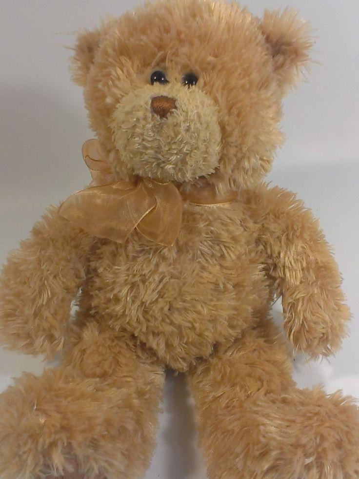 "Gund CORIN Teddy Bear Plush Golden Brown Bean Bag Stuffed Animal Bow 12"" -15309  #GUND"