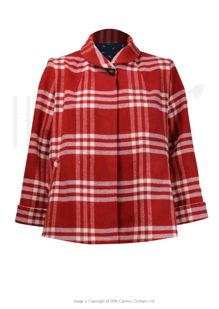 50s Cute Swing Jacket in Red Check £155.00 AT Vintagedancer.com Super cute, and I do like to wear red with black.