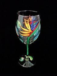 Bird of Paradise Design - Wine Glass - 8 oz.. by eMallGuide.com. $25.21. Wine Glass - 8 oz. - 6.75 inches tallA flower so beautiful and exotic that it is named after paradise itself.  As in nature, our hand painted Bird of Paradise flowers arespectacular blossoms sporting magnificent plumage. Colorful stemmed flowers emerge from green boat-shaped bracts which are bordered in red. The numerous pointed petals of brilliant orange are contrasted with arrow shaped ...