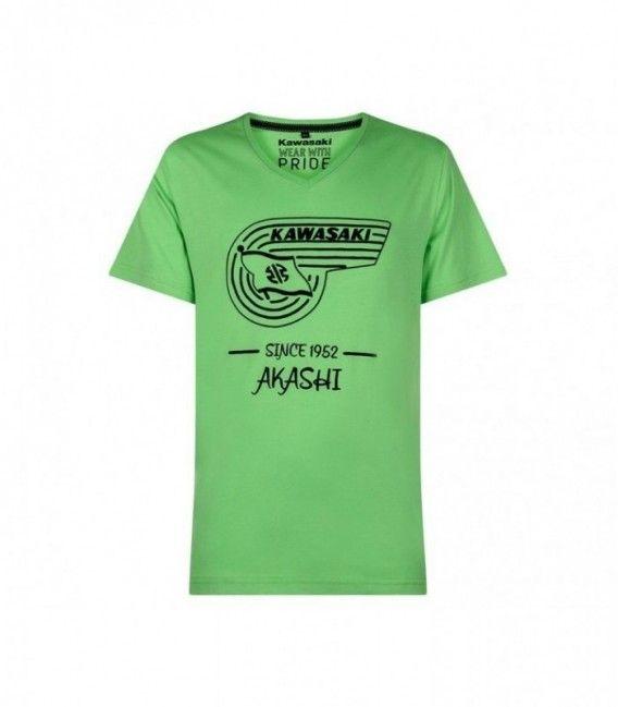 CAMISETA MANGA CORTA AKASHIMARCA KAWASAKI: Los fans de Kawasaki de todas las épocas se deleitarán con el estilo retro de esta camiseta de algodón con cuello en V y de color verde lima .
