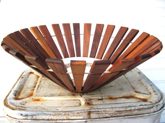 Danish modern  bowl ,fruit bowl, slatted wood bowl