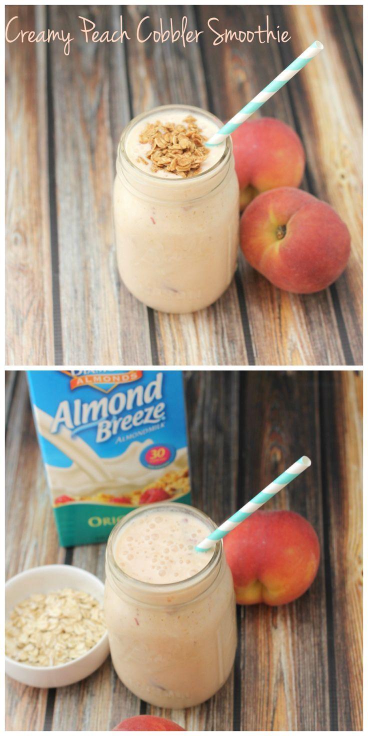Need an easy breakfast idea? This creamy, dreamy, peach smoothie tastes like dessert but is loaded with Greek yogurt & whole grain oats! Try it for a healthy breakfast!