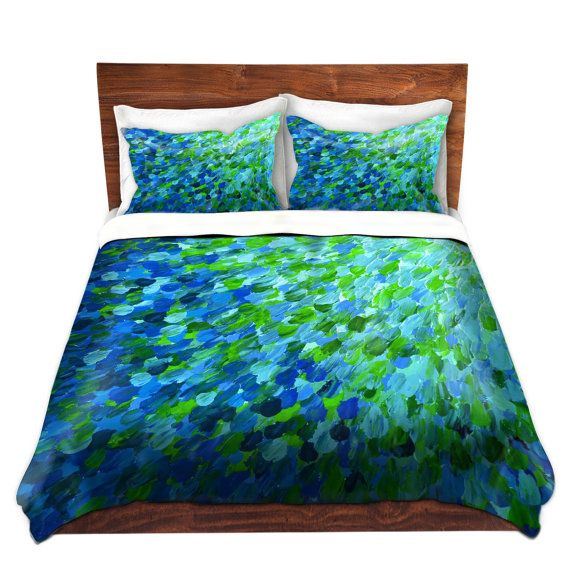 items similar to beachy fine art duvet covers king queen twin size whimsical home decor ombre bedding ocean splash turquoise aqua blue green floral bedroom