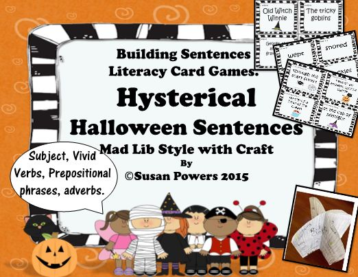 With a mad libs style, this card game is such a fun way to engage the children as they learn about parts of speech and building sophisticated sentences.   The children play by pulling cards from each bundle ( subject, verb, phrases etc) and putting them together to create spooky Halloween sentences that are hilarious!  Also included, a Halloween craft for developing vocabulary skills with a focus on synonyms.