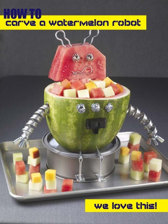 robot birthday party perfection - how to carve a watermelon robot!!!!