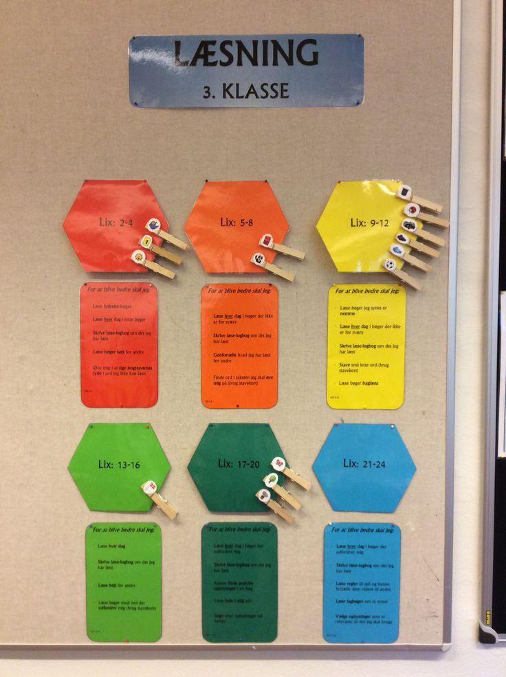 Min 3. Klasse har hver især en figur som symboliserer deres læsse-niveau. Under hvert niveau står der hvad børnene skal arbejde med for at blive en bedre læser.... De evaluerer ca hver måned sammen med mig...