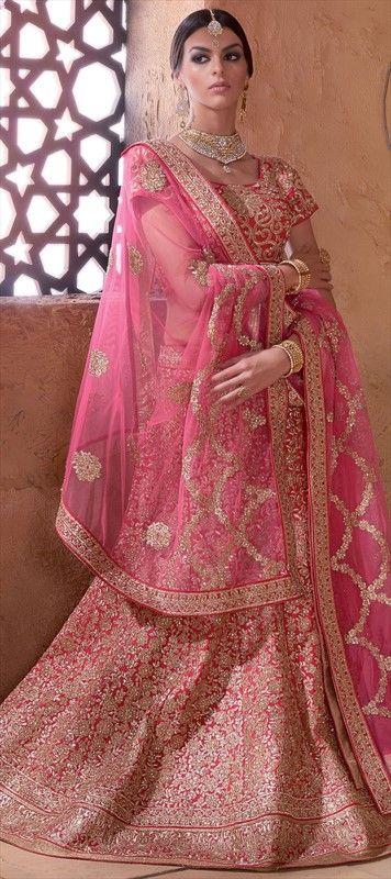 194247 Pink and Majenta  color family Bridal Lehenga in Banarasi, Silk fabric with Border, Machine Embroidery, Resham, Stone, Zari work .