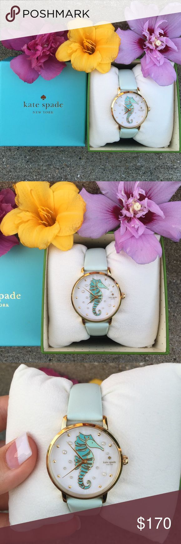 Kate Spade Sea Pony Metro Watch NWT! Pearl bubbles and an aqua sea-pony with gold-tone accents dance across the mother-of-pearl dial of this Kate Spade metro watch, anchored by a gold tone case and mint splash leather strap. Features a mother of pearl dial, gold tone dot markers at all hours, a 34mm case, and 16mm strap. Style # KSW1102. Comes with Kate Spade box, Kate Spade watch pillow, and authenticity booklet. Don't miss out - this watch is full price in Kate Spade stores! No trades. No…