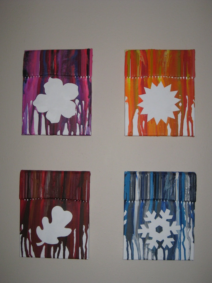 4 Seasons Melted Crayon Art