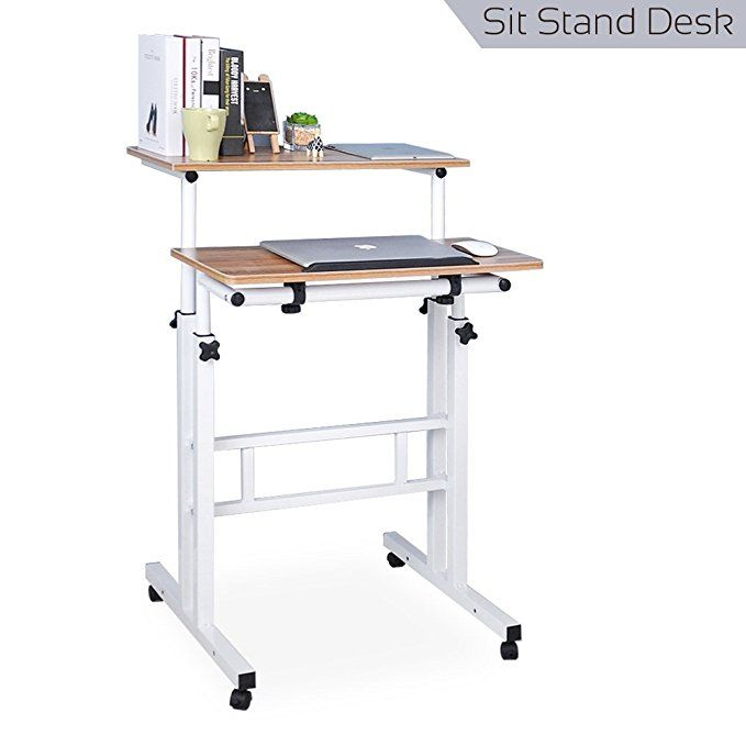Qwork Mobile Laptop Stand Up Desk Cart Tilting Table With Dual Surface Sit Stand Desk Height Adjusta Adjustable Height Desk Computer Desk Height Ergonomic Desk