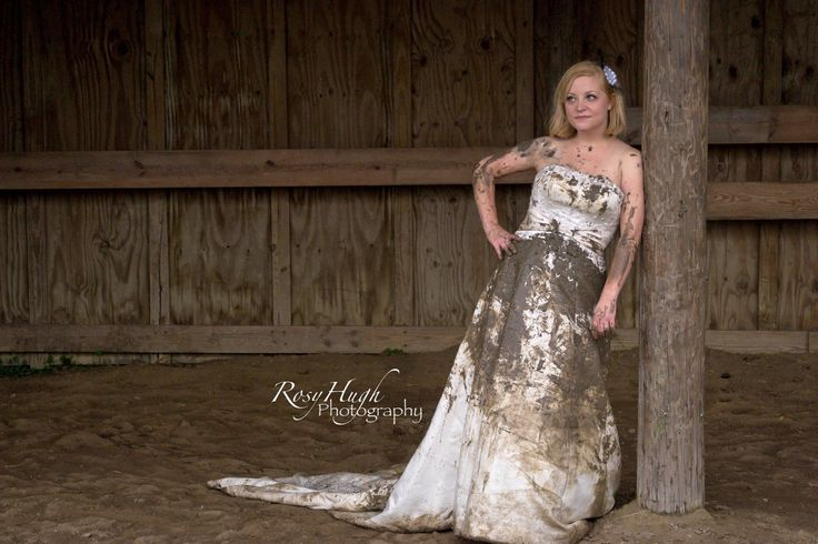 wedding dress destruction mud