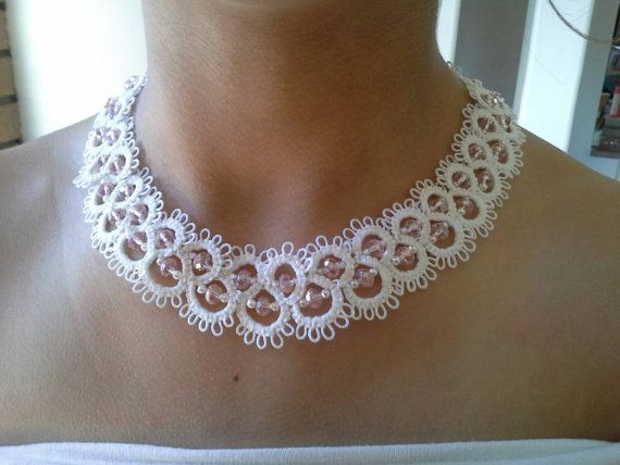 White tatted necklace with pearl and swarovski crystal beads, great for bridal jewellery